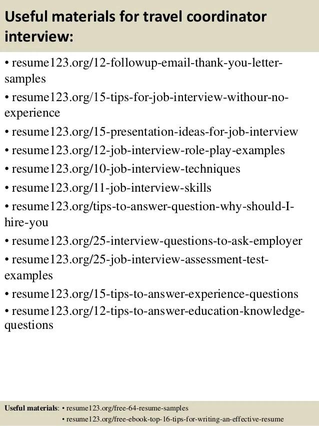 Top 8 Travel Coordinator Resume Samples