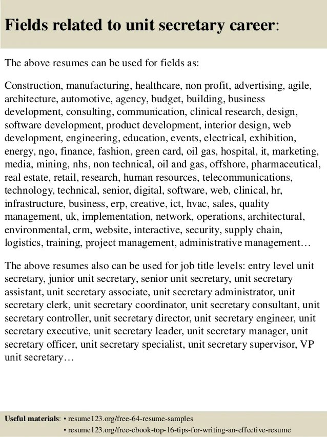Unit Secretary Resume Samples. Secretary Sample Resume Photo