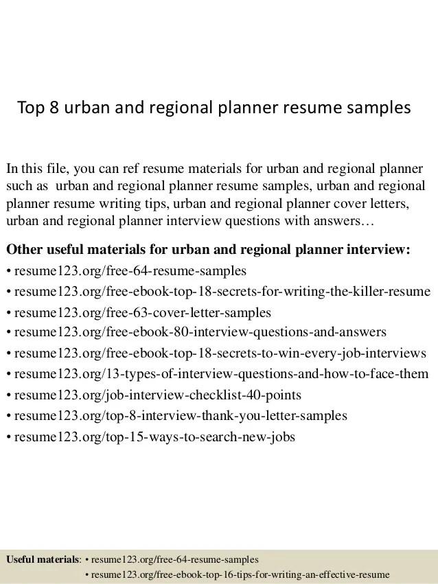 top 8 urban and regional planner resume samples