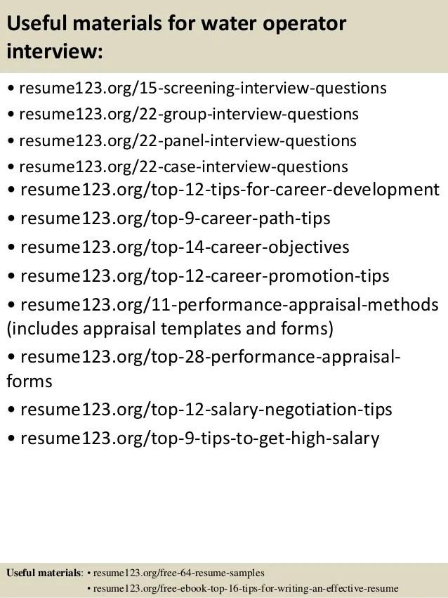 top 8 water operator resume samples