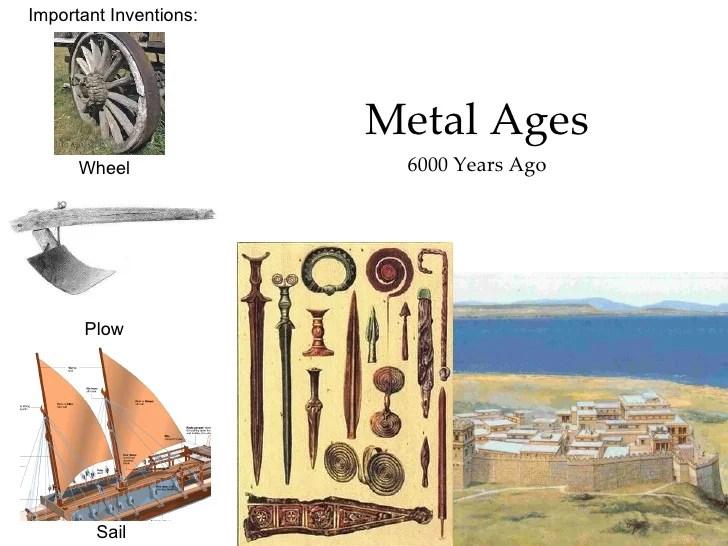 <ul><li>Metal Ages </li></ul><ul><li>6000 Years Ago </li></ul>Important Inventions: Wheel Sail Plow