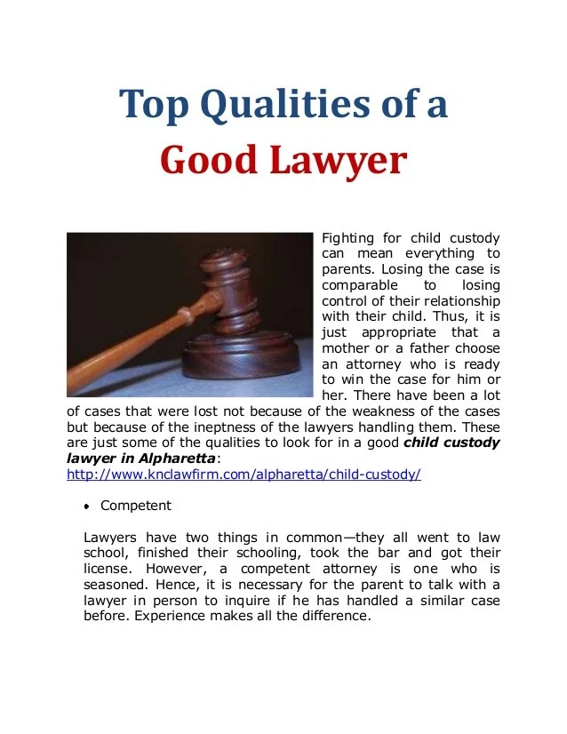Top Qualities Of A Good Lawye