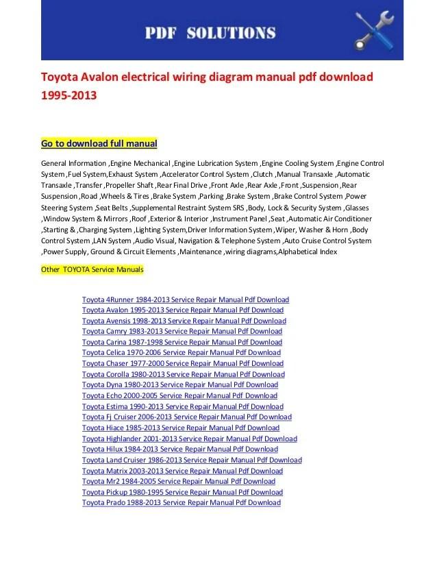 toyota avalon electrical wiring diagram manual pdf download