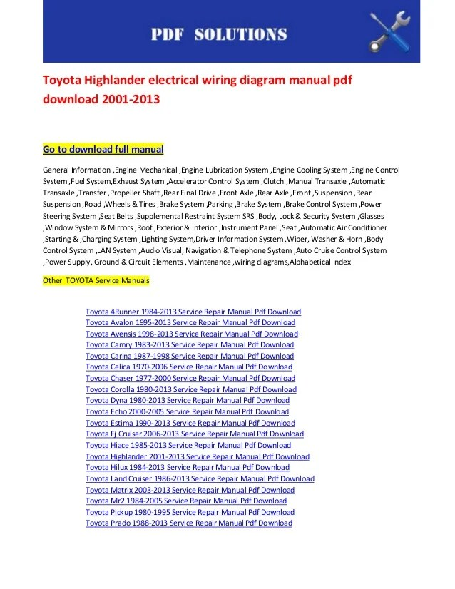 Toyota highlander electrical wiring diagram manual pdf
