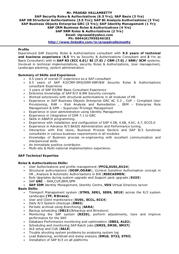 Sap Bw Resume Samples