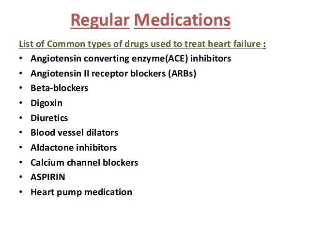 Types Medication Heart Different