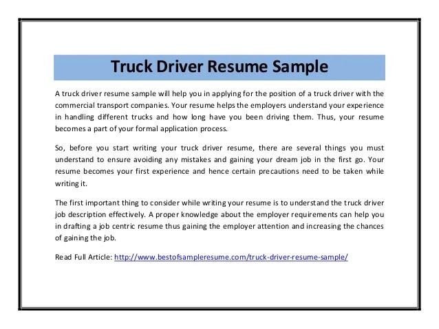 truck driver resume sample resume resume examples for truck - Resume Examples For Truck Drivers