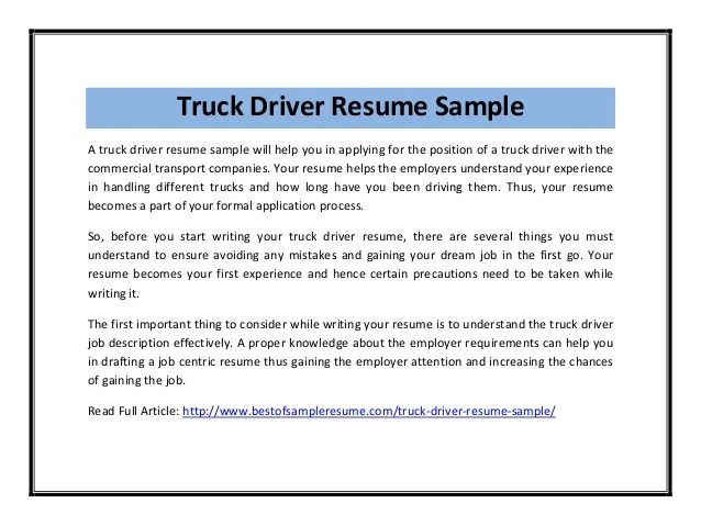 sample truck driver resume thebridgesummitco