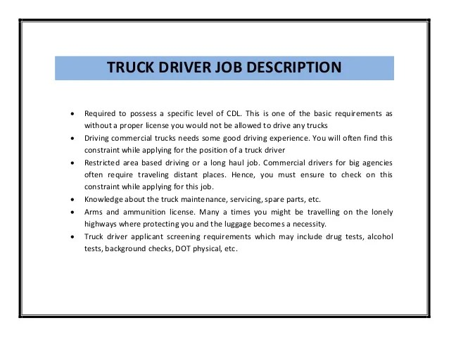 Truck Driving Resumes. Truck Driver Resume Sample My Perfect