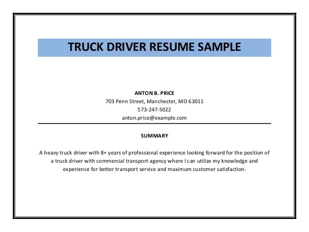 Entry Level Cdl Driver Resume Sample Race Car