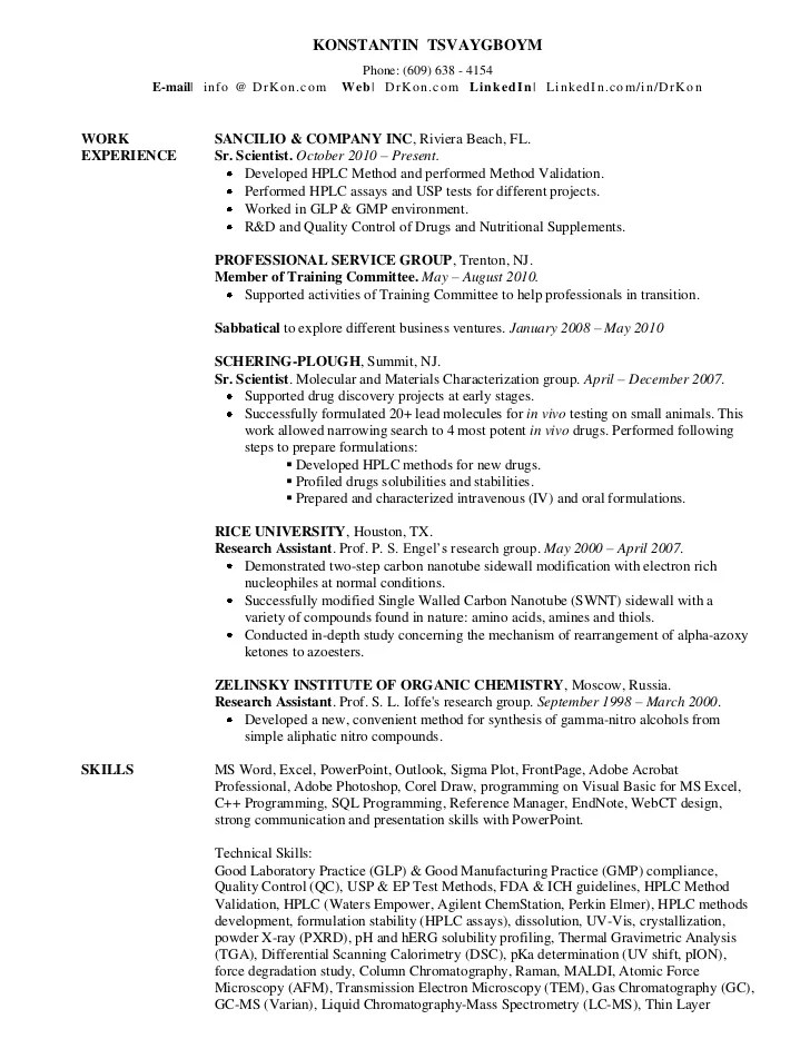 chemistry resume template