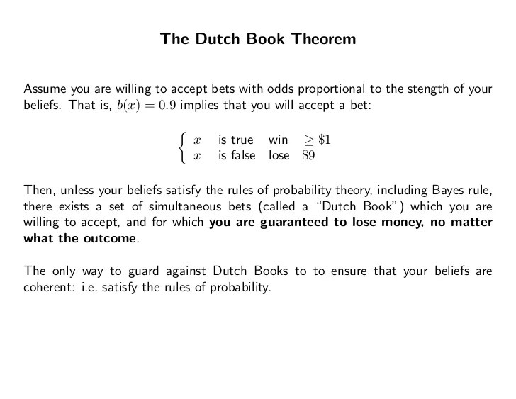Image result for dutch book theorem