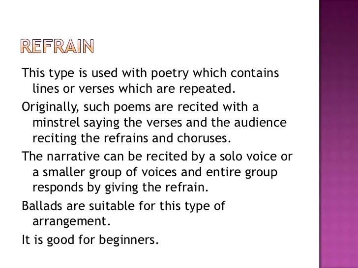 Poetry Refrain Examples