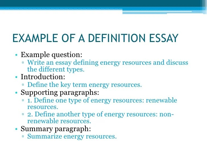 example of a definition essay - Ex