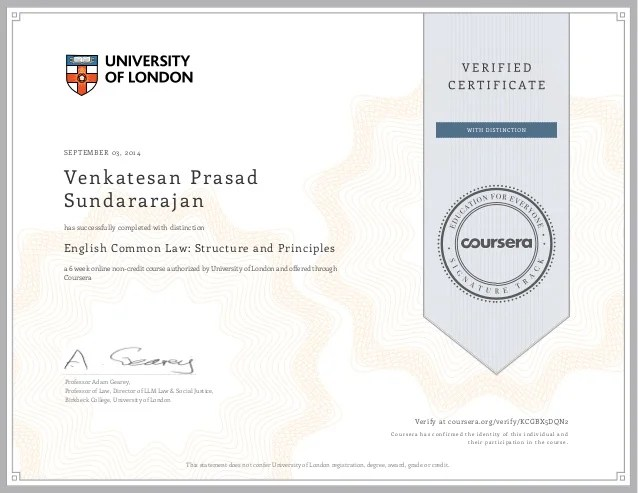 Univ Of London English Common Law Certificate Vps 2014