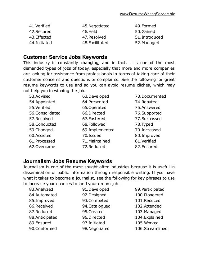 Resume Key Phrases List. key words in resumes key words fpr resume ...