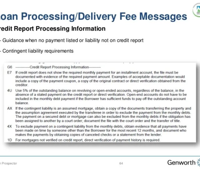 Loan Processing Delivery Fee Messages 64loan Prospector Credit Report