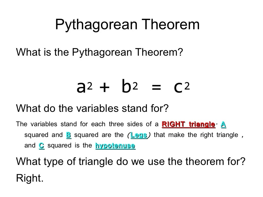 Pythagorean Theorem And Distance Formula