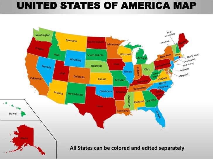 Usa country editable powerpoint maps with states and counties UNITED STATES OF AMERICA MAP  13