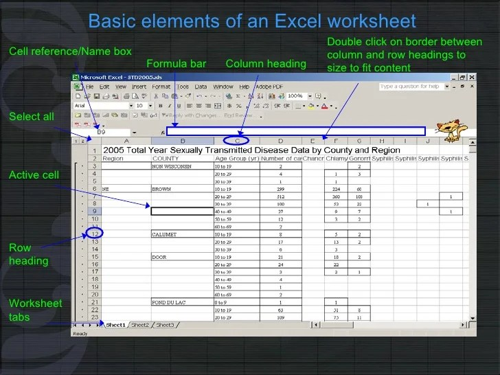Uses   applications of microsoft excel in vph research Working Basics  6  Basic elements of an Excel worksheet