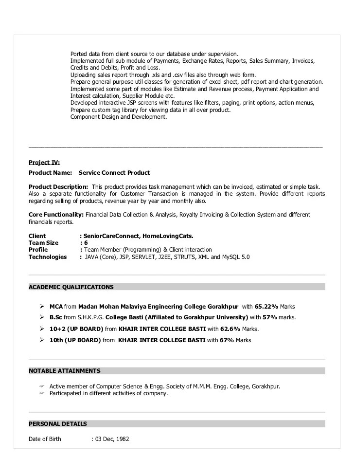 sample resume with xml experience