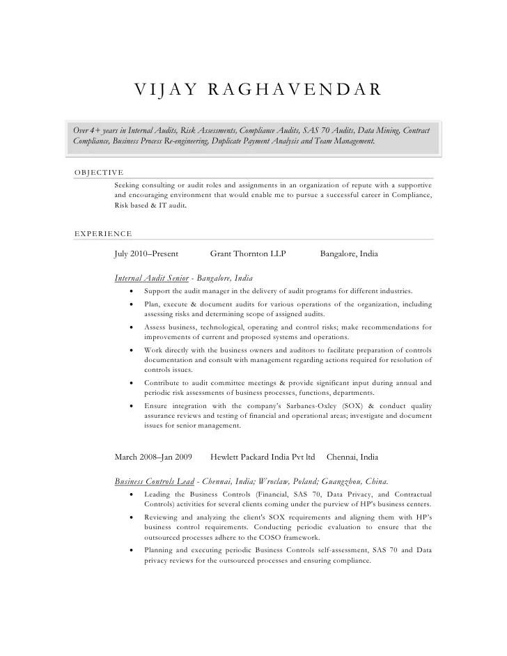 internal audit resume vijay raghavendar cv audit audit manager