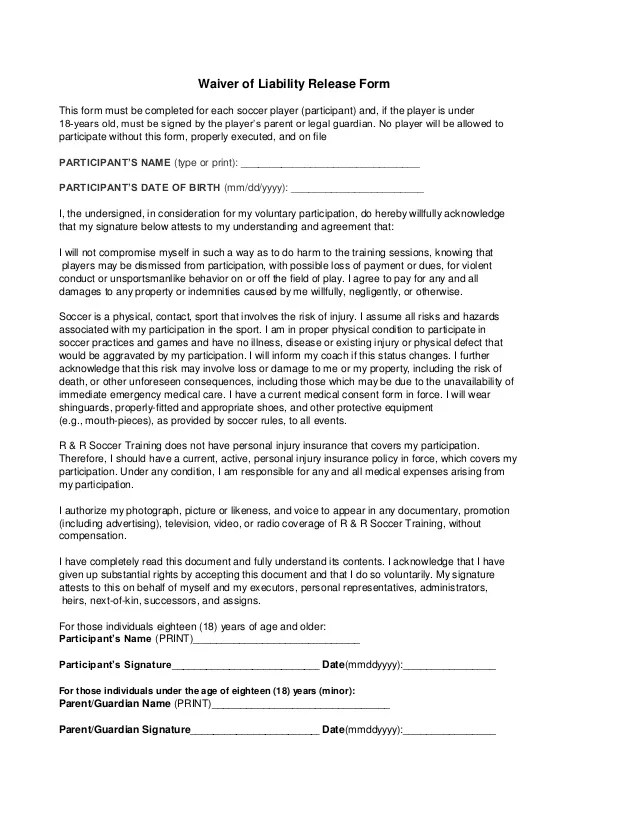 Doc7201024 General Waiver of Liability Form Printable Sample – Free Liability Waiver