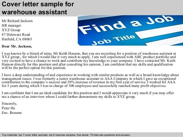Warehouse Assistant Resume Cover Letter. sample letter of ...