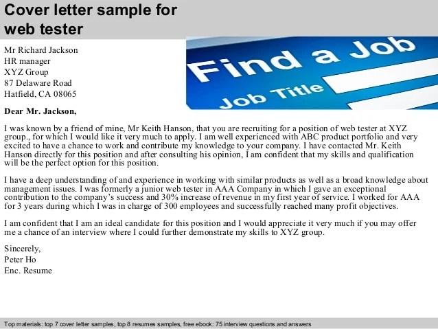 web tester cover letter