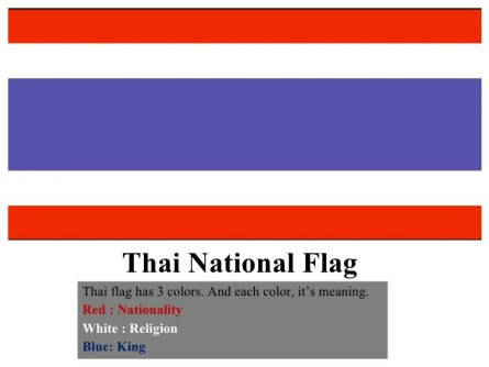 Image result for thailand flag colours meaning