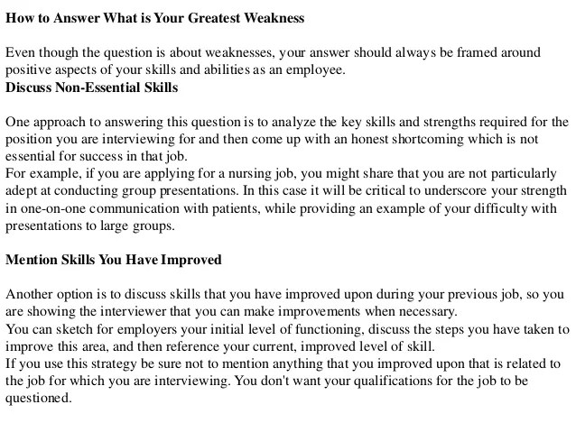 what is your biggest weakness interview