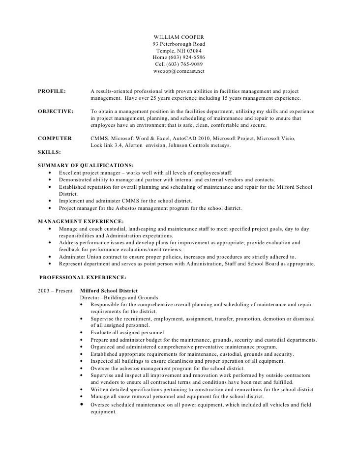 Custodial Manager Resume  william cooper resume rev  cover letter