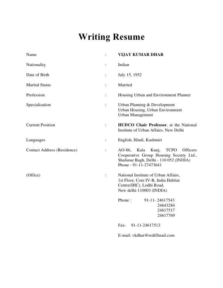 to write a resume