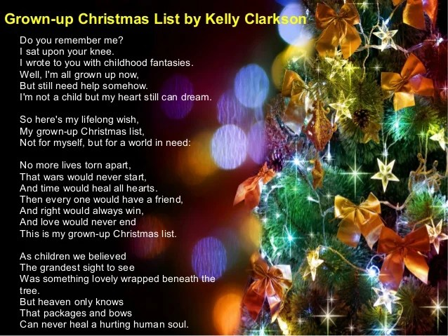 My Grown Up Christmas Wish Kelly Clarkson Christmaswalls