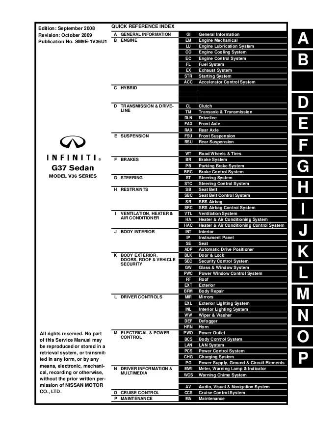 2009 INFINITI G37 SEDAN Service Repair Manual