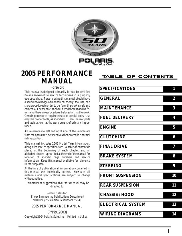 2005 Polaris 500 XC SP Edge SNOWMOBILE Service Repair Manual