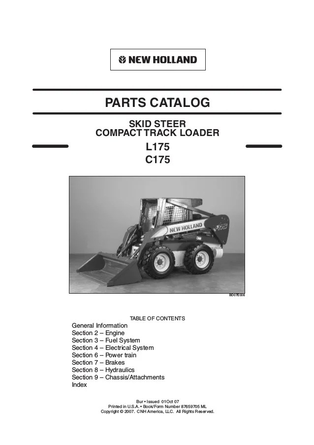 new holland c175 skid steer compact track loader parts