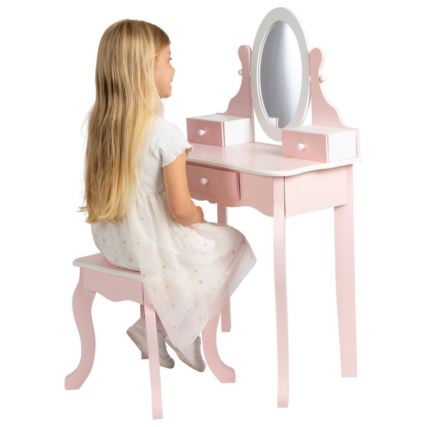 kids wooden vanity table with stool smyths toys uk