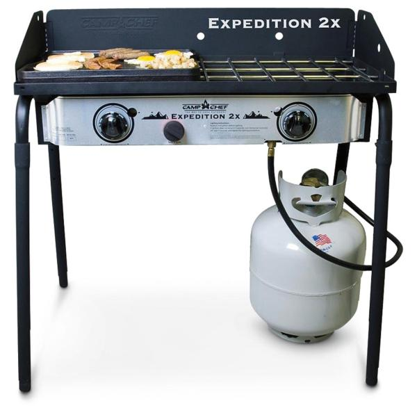 Camp Chef     Expedition 2 Stove with BONUS Cast Iron Griddle   607475     Click to zoom