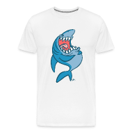 Koszulka męska premium - Koszulki Big Laughing Blue Cartoon Shark- Cheerful Madness! T-Shirts