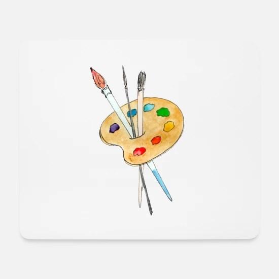 Palette Peintures Et Pinceaux Tapis De Souris Spreadshirt