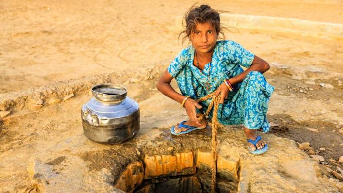 Girl is looking for water