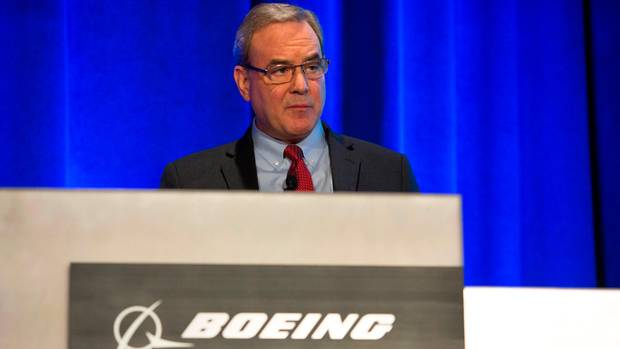 Mike Sinnett, Boeing VP of Product Strategy, at a press conference in Renton, Washington