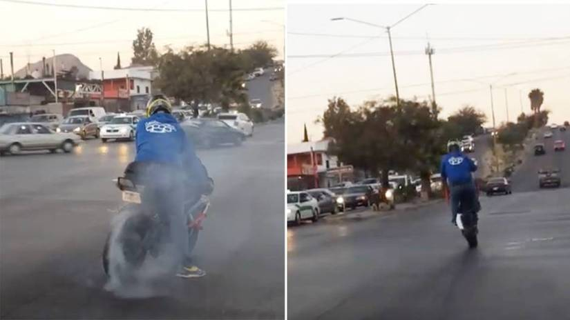 A motorcyclist wants to show off strongly and embarrasses himself violently.