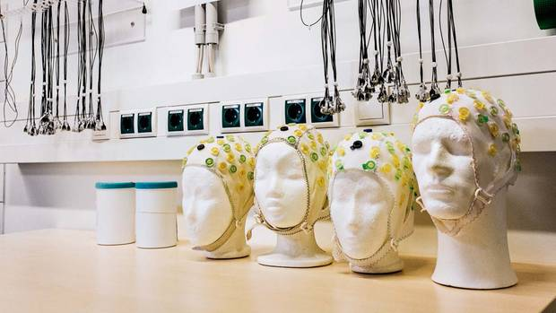 On styrofoam heads dry electrodes that are used for EEG measurements
