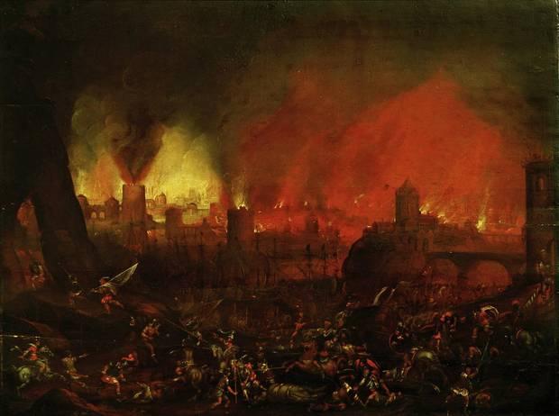Die Söldner plünderten die Schätze der Stadt und ermordeten die Bewohner.