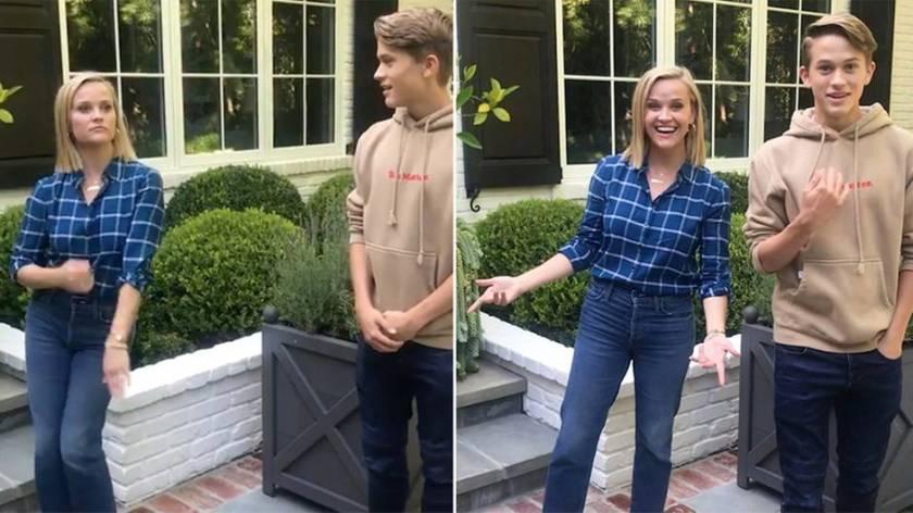 Prominente mamá: Reese Witherspoon muestra a su hijo adolescente movimientos de baile tontos