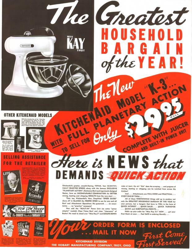 Eine Werbeplakatt aus den 1940er Jahren. Man beachte den Preis von nur 29,95 US-Dollar. Zur Zeit der Wirtschaftskrise sollte die