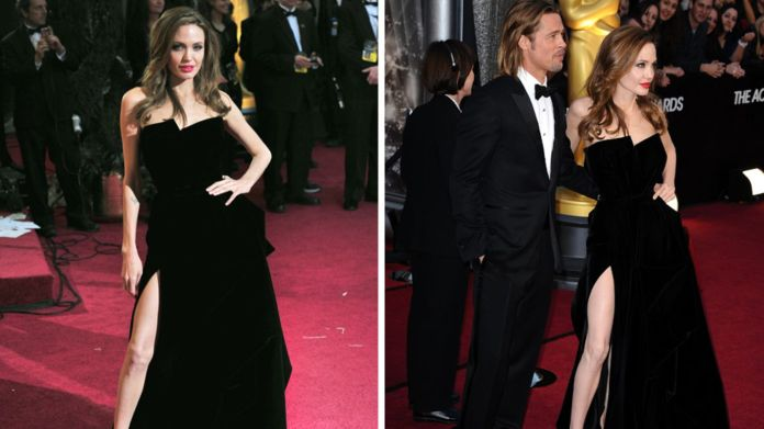 Angelina jolie's high-slit dress made 2012 a great deal of attention
