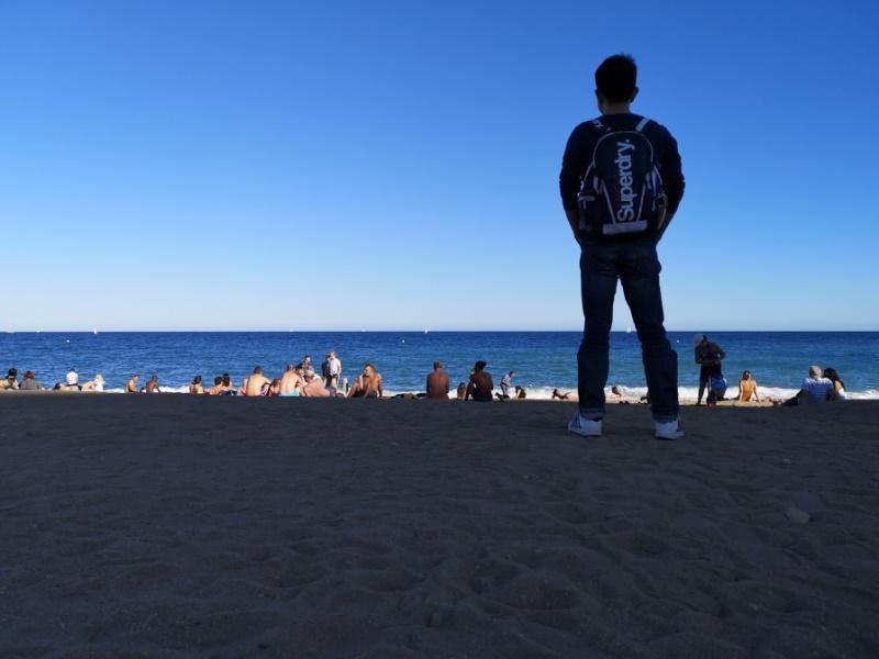 barcelonabeach01 Barcelona-嗨!地中海你好!! 巴塞隆納海岸Platja de la Barceloneta 海天一線超美